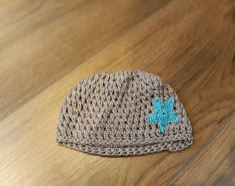 Crochet Grey Baby Hat
