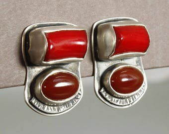 clip on earrings, coral and carnelian clip on earrings, red clip on earrings, carnelian, coral, clipons, carnelian clipons