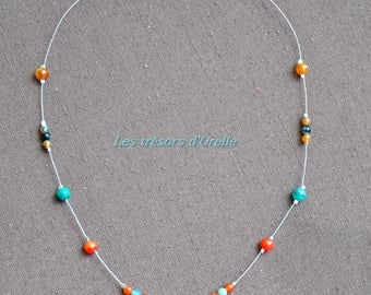 Your orange agate beads necklace on twisted wire and green ball pendant