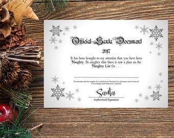 Santa Naughty List, Santa Certificate, Santa Printable, Santa Naughty List Certificate, Santa Claus Certificate, Nice List Certificat