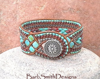 Woven Leather Tile Bead Bracelet, Turquoise Silver Beaded Wrap Cuff Bracelet, Unique Wide Leather Cuff, The Queen of Diamonds in Turquoise