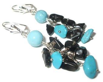 Black blue earrings dangle beaded turquoise dangle earrings boho blue earrings turquoise agate jewellery Turquoise earrings for sensitive