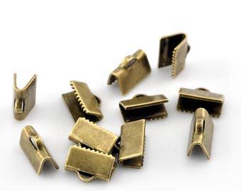 20 caps clip Ribbon, smooth, 10mm, bronze antique Tbqualite