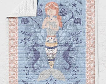 Mermaid Quilt - Sea Turtles Nautical Ocean Life Girls Bedding- Kids Blue Coral Teen Sea Horses - Sea Shells Gift Twin Full Queen Sized Quilt