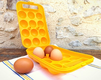 Box with egg yellow vintage - door eggs for storing 12 plastic eggs
