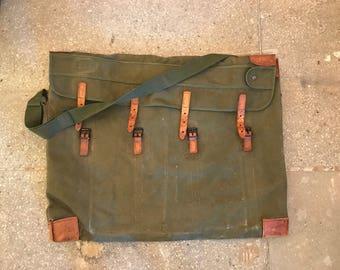 Vintage Travel Bag, Olive Green, Portfolio Bag, Safari Style, Mail Bag, Canvas Bag