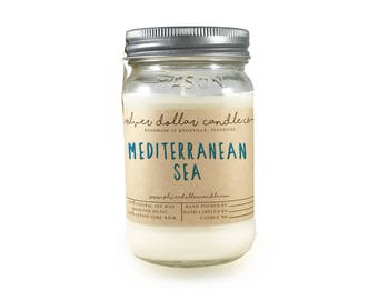Mediterranean Sea Candle - Scented Candle - 16oz - Soy Candle - Scented Candles - Candles, Candle - Gift for Her, Handmade Candle, Mason Jar