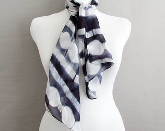 Silk Neck scarf Bestseller gift for her Shibori scarf Patterned scarf Small gift Summer scarf Boho chic silk scarf INDI 0218