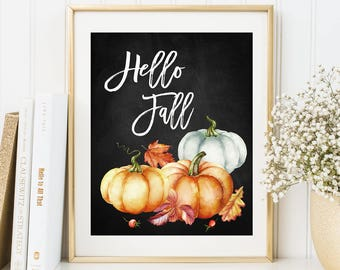 Hello Fall Wall Art Print Autumn Home Decor Watercolor Pumpkins Wall Art Fall Party Sign Happy Harvest Chalkboard Print Thanksgiving Print