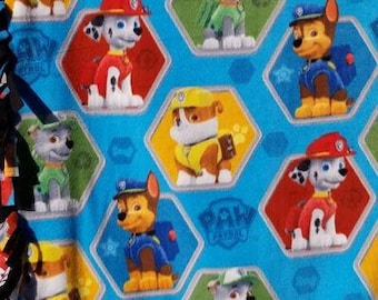 READY TO SHIP Blue Paw Patrol  Knotted Fleece Throw With Antipill Backing