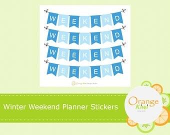 Winter Weekend Planner Stickers, Weekend Banner Stickers, Erin Condren Life Planner