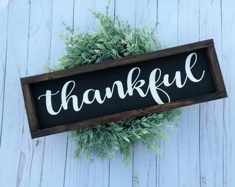 Thankful Sign - Thanksgiving Sign -Farmhouse Sign - Wood Sign - Fall Decor - Thankful  Decor - Rustic Sign - Gallery Wall Decor