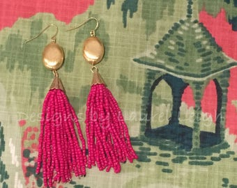 PINK and GOLD Beaded Tassel Earrings | fuchsia, statement earrings, lightweight, long, dangle