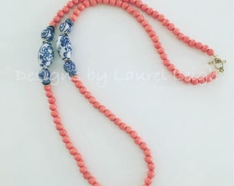 ORANGE, Blue and White Chinoiserie Beaded Necklace | long, wooden, team colors, Florida, Auburn, game day