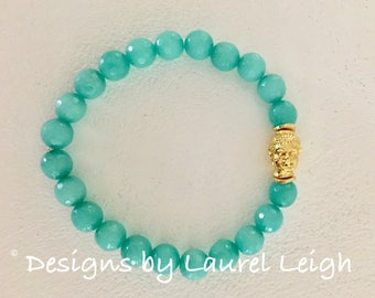 GOLD and AQUA Jade Buddha Beaded Bracelet | turquoise, gemstone, gold plated, stretchy, Designs by Laurel Leigh