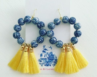 YELLOW Chinoiserie Hoop Tassel Earrings | blue and white, Chinese, beaded, preppy