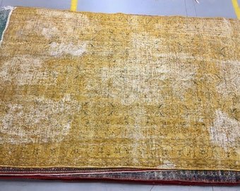 Old antique style carpet 100% wool floral pattern yellow color warm old rug heavy carpet big rug rarity rug suitable for home&restaurant.