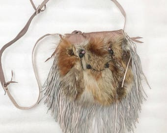 Steep fur bag rfrom real red fox fur & leather with fashionable leather fringe new designer bag handmade women's pink bag has size-medium.