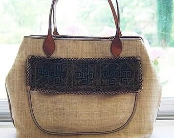 Hemp leather shoulder bag
