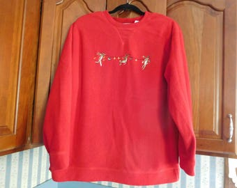 Vintage Fleece Long Sleeve Red Christmas Holiday Top Size Large by Marsh Landing