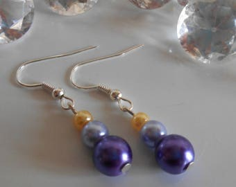 Trendy wedding earrings violet purple and yellow