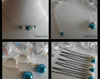Set of 4 wedding pieces rhinestone and Pearl White and blue Peacock