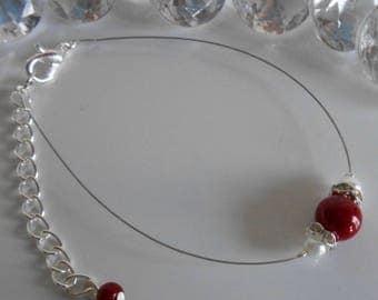 Wedding bracelet Burgundy and white pearls and rhinestones