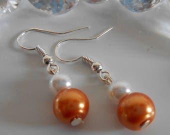 Wedding pearls duo earrings Orange Tan and white