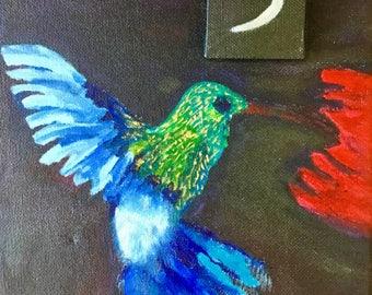 Hummingbird Under Moonlight