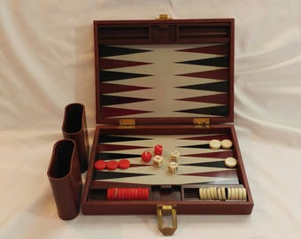 1980s Travel Magnetic Backgammon Board Game