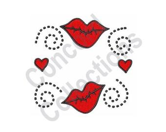 Kisses - Machine Embroidery Design, Love Lips
