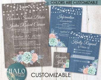 Rustic Succulents Wedding Invitations