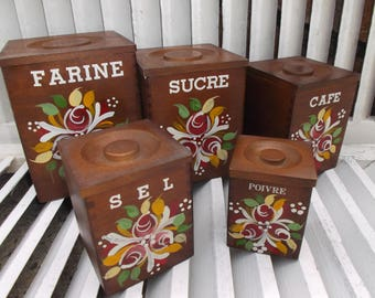 Set of kitchen canisters wooden Bohemian style - wooden canisters, bohemian style kitchen pots