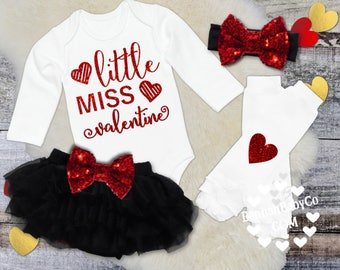 Little Miss Valentine, Baby Girl 1st Valentine's Day, Baby Valentine's Outfit. Baby Girl Valentines Day Outfit, Red White Black Set