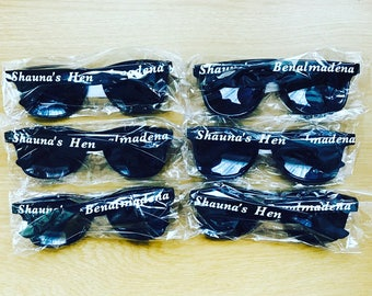 Personalised Sunglasses, Wedding, Hen Party, Birthday, Stag Do, Bridal, matching, Bride Groom, Your Name & Location Gift