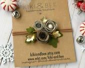 Chestnuts Rosting // Petite Poppy Headband // Felt flower headband // Warm Gray, Taupe and Heathered Beige // kikiandbee