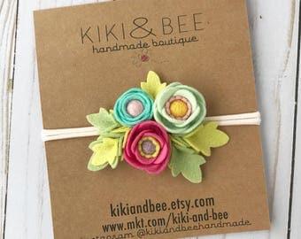 Felt flower Headband // Poppy floral headpiece // Felt flower birthday crown // Baby Nylon headband // Pink Coral Mint Aqua // kikiandbee