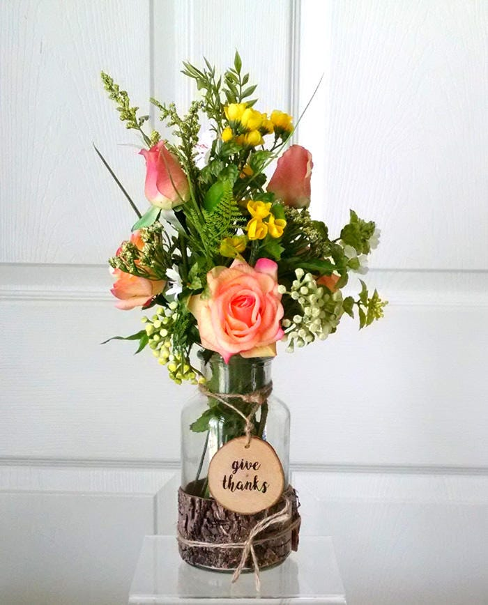 Rustic home decor-Real Touch Floral- Real Touch Flowers in  Rustic Vase-Fall Arrangement-Thanksgiving  Arrangement-Autumn Faux Flowers