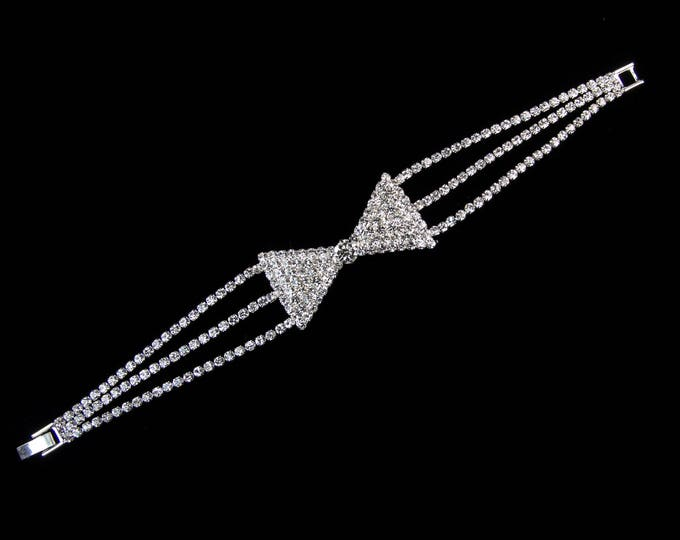Bethany Clear Crystal Bow Competition Bracelet for IFBB, NPC, and NANBF Bikini Fitness Bodybuilding Contests