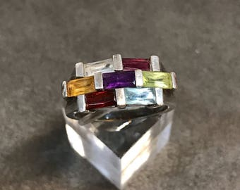 Size 8.5, vintage Sterling silver handmade ring, solid Thailand 925 silver with ruby, sapphire, peridot, amethyst and citrine details, stamp