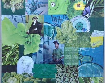 """Green"" theme collage painting"