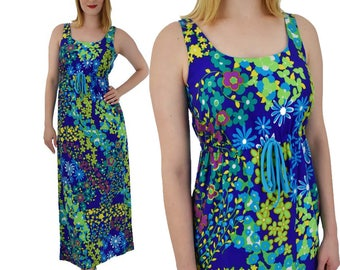 70s Floral Empire Maxi Dress-1970s Hawaiian Dress-70's Sundress-Summer-Pool Party-Resort-Hukilau-Tiki Oasis-Cruise-S-Small-M-Medium