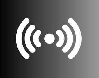 Wireless wifi signal die cut vinyl decal sticker for laptops, yeti decals, etc.