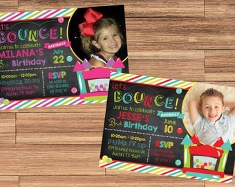 BOY or GIRL Bounce House Invitation with Photo! Let's Bounce! Digital File. Print at Home.