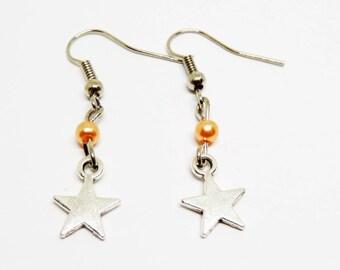 Orange star bead charm earrings