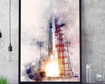 NASA Rocket Poster, Rocket Launch Print, Kids Room Decor, Watercolour Space Rocket Art, Nursery Wall Art, Nasa Space Program, Giclee (N315)
