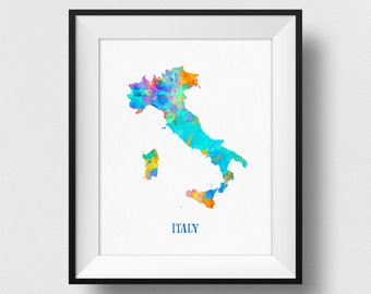 Italy Map Wall Art, Italy Map Print, Map Of Italy Poster, Watercolour Italian Map Print, Kids Room Decor, Italian Theme Decorations (714)