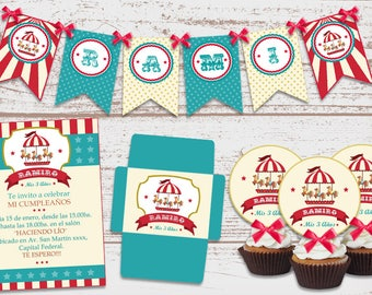"Luxury printable Kit ""Carrousel"" Decoration birthday Parties Boys Boy. Carousel. Super full. Custom."