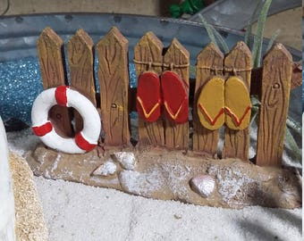 Fairy Garden Beach Fence w/ Flip Flops, Beach Themed Fairy Fence, Fairy Fence for Miniature Gardening, Seaside Cottage, Summer Fairy Garden
