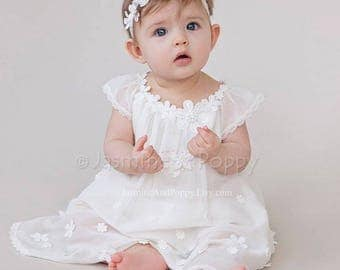 Baby girl christening dress, lace christening dress, baptism dress, baptism gown, silk christening dress, bohemian baby dress